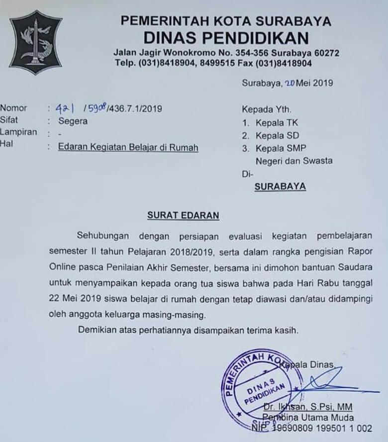 22 Mei 2019 Sekolah Di Surabaya Diliburkan Ini Alasannya