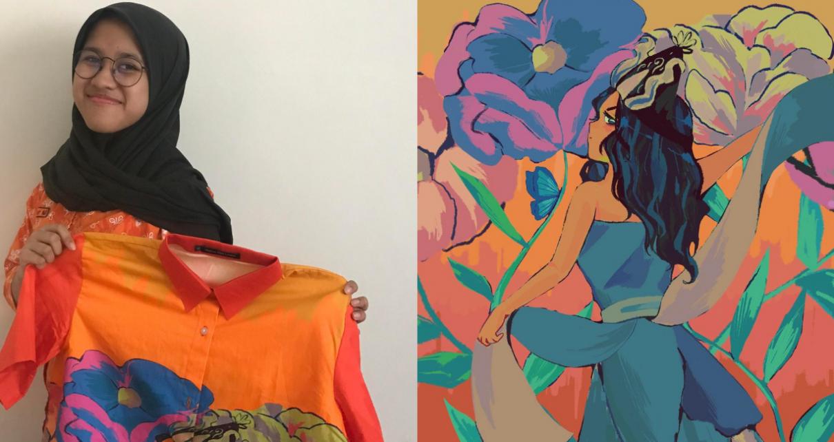 KARYA. Maylavli Jemima Zahabiya menunjukkan karyanya. (foto: ist)