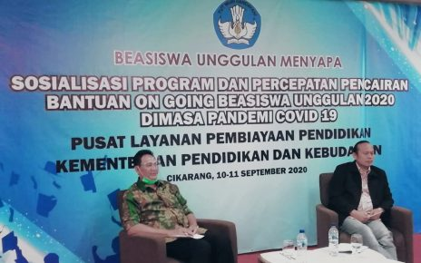 BEASISWA. Sosialisasi Program Percepatan Pencairan Bantuan On Going Beasiswa Unggulan 2020 di Masa Pandemi Covid-19, di Cikarang, Jawa Barat. (foto: int)