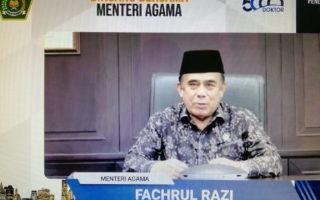 WEBINER. Menteri Agama (Menag) Fachrul Razi saat webiner. (foto: kemenag.go.id)