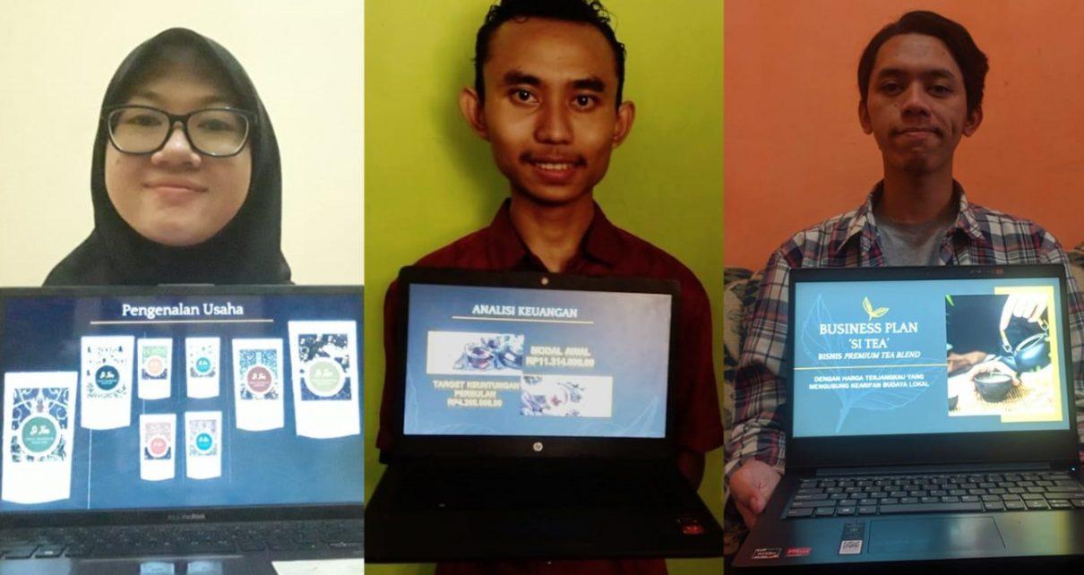 REMPAH. Mahasiswa (dari kiri) Aulia Kharis Rakhmasari, Dede Yusuf P Kuntaritas, dan Akhmad Miftahul Ilmi yang berhasil meracik teh dengan paduan rempah-rempah. (foto: ist)