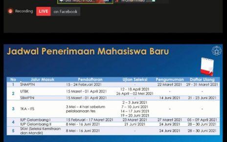 MEMAPARKAN. Direktur Pendidikan ITS Dr Siti Machmudah ST MEng memaparkan jadwal dari penerimaan mahasiswa baru ITS pada tahun 2021. (foto: ist)