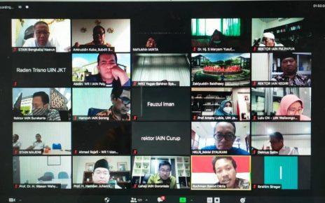 DARING. Rapat secara daring bersama Pimpinan PTKI dan Kopertais se-Indonesia. (foto: kemenag.go.id)