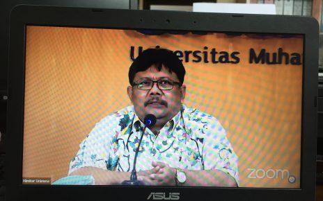 SAMBUTAN. Rektor Unimma, Dr. Suliswiyadi, M.Ag sedang memberikan sambutan. (foto: ist)