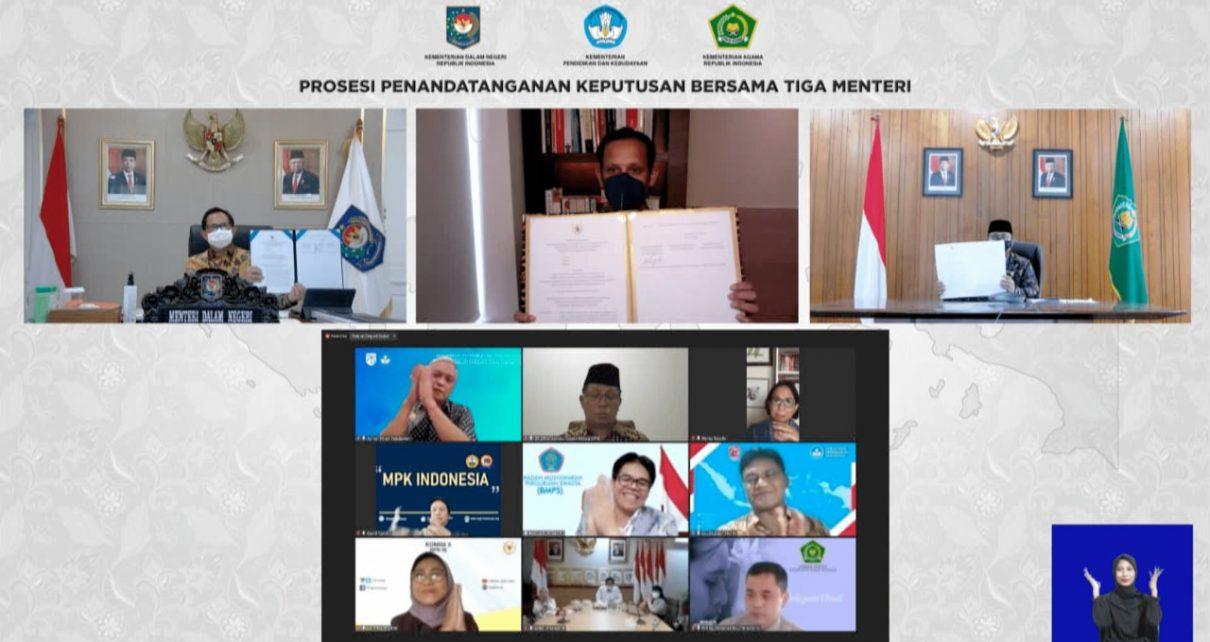 SKB. Peluncuran SKB Tiga Menteri tentang Seragam Sekolah. (foto: kemendikbud)