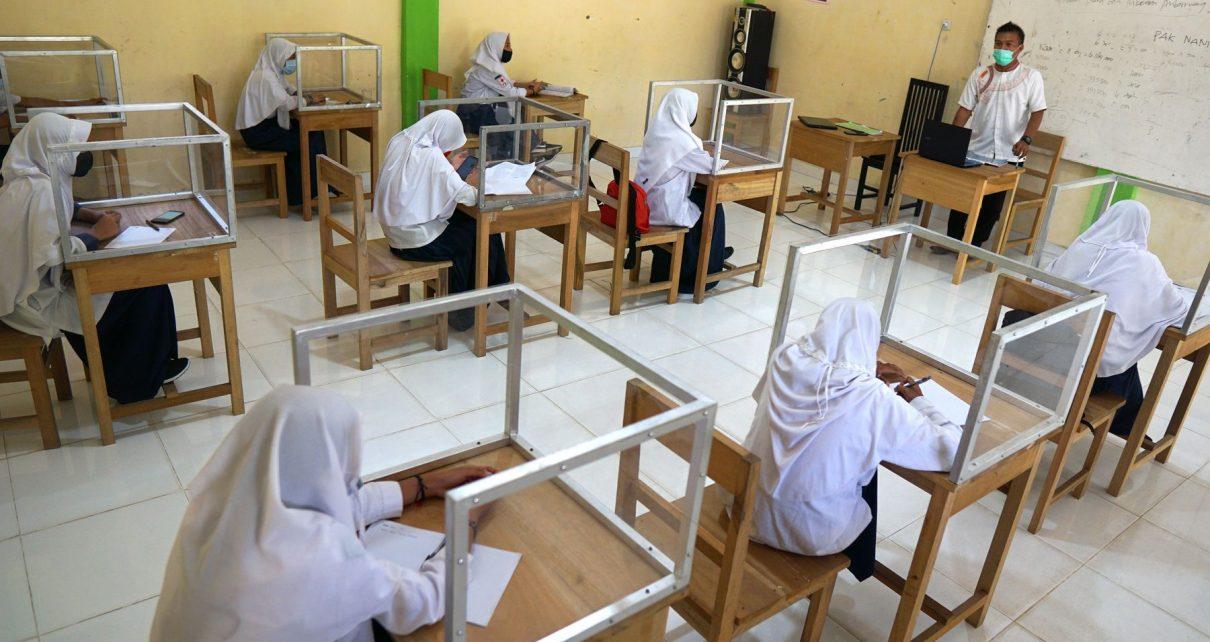 PTM. Pembelajaran Tatap Muka di sekolah. (foto: mediaindonesia)